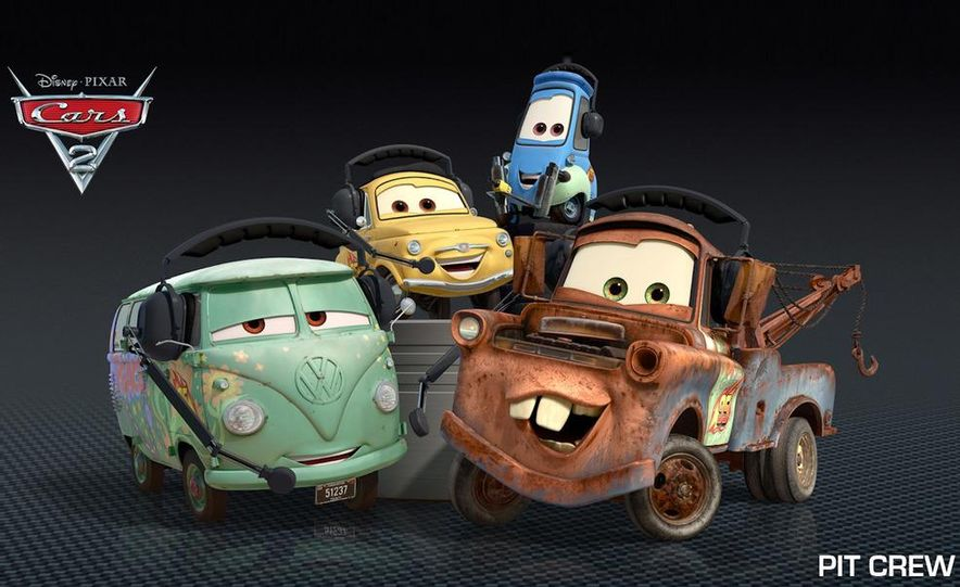 Grem, Acer, Lightning McQueen, Mater, and Finn McMissile in Disney-Pixar's Cars 2 - Slide 10