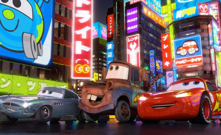 Grem, Acer, Lightning McQueen, Mater, and Finn McMissile in Disney-Pixar's Cars 2 - Slide 2