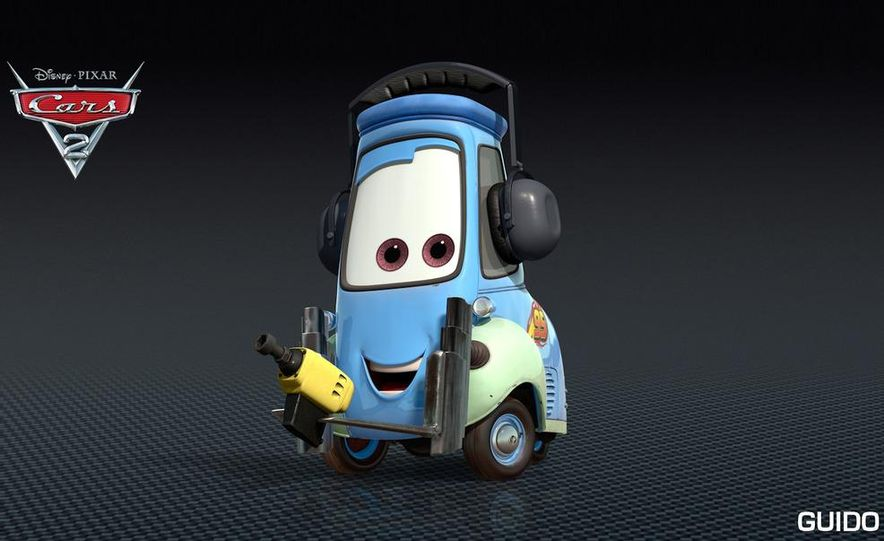 Grem, Acer, Lightning McQueen, Mater, and Finn McMissile in Disney-Pixar's Cars 2 - Slide 17