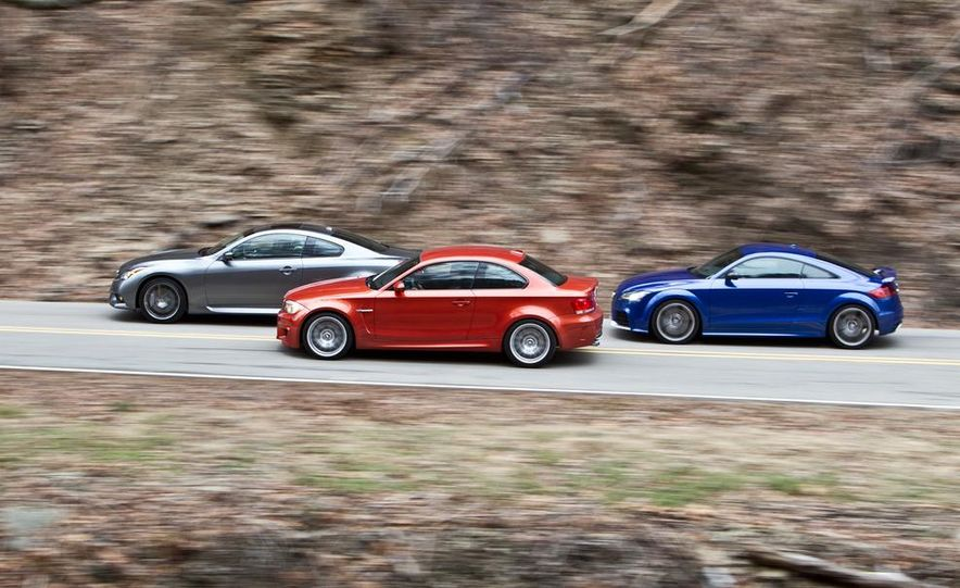 2012 Audi TT RS (Euro-spec), 2011 BMW 1-series M coupe, and 2011 Infiniti IPL G coupe - Slide 6