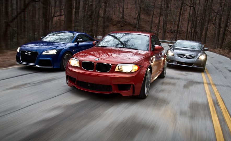2012 Audi TT RS (Euro-spec), 2011 BMW 1-series M coupe, and 2011 Infiniti IPL G coupe - Slide 1