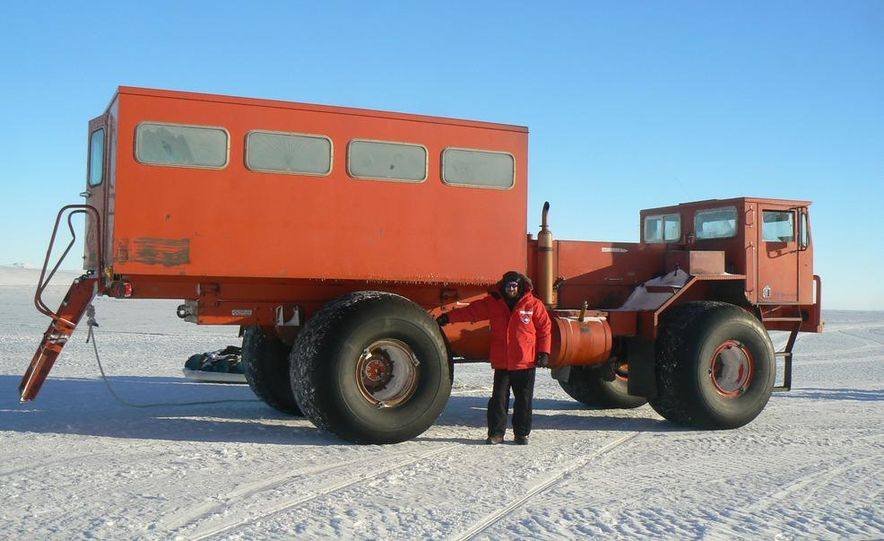 A large Delta truck, used to transport personnel across the sea ice. (Dominick Dirksen, National Science Foundation) - Slide 1