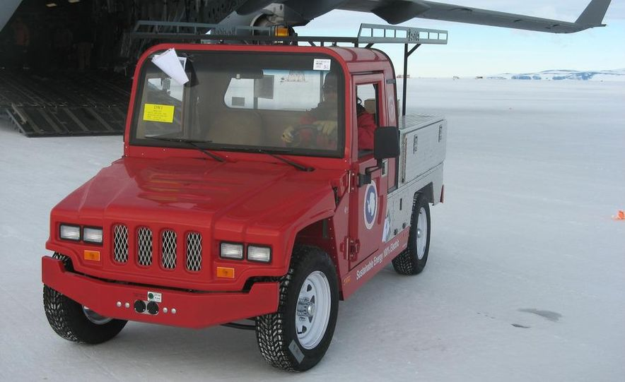 A large Delta truck, used to transport personnel across the sea ice. (Dominick Dirksen, National Science Foundation) - Slide 2