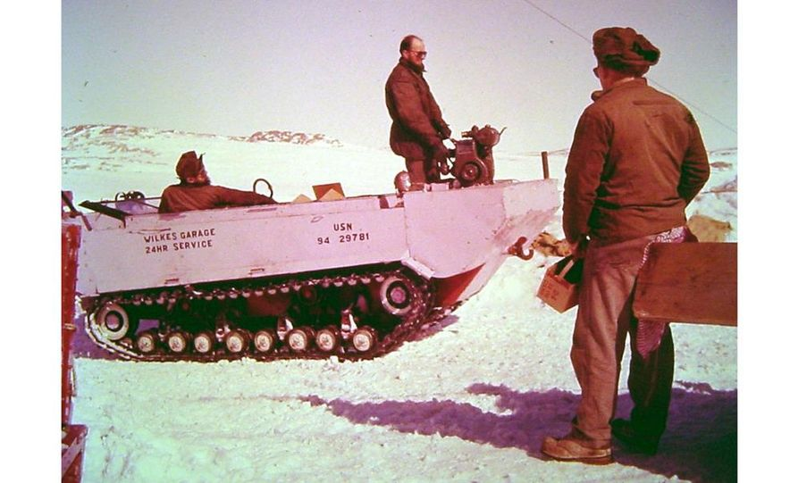 A large Delta truck, used to transport personnel across the sea ice. (Dominick Dirksen, National Science Foundation) - Slide 24