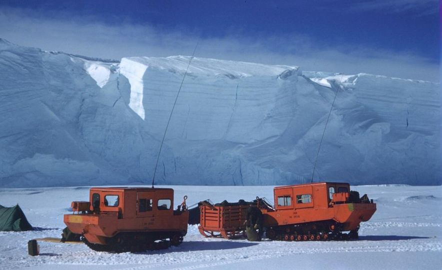 A large Delta truck, used to transport personnel across the sea ice. (Dominick Dirksen, National Science Foundation) - Slide 13