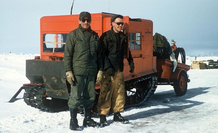 A large Delta truck, used to transport personnel across the sea ice. (Dominick Dirksen, National Science Foundation) - Slide 3