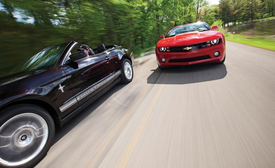 2011 Ford Mustang convertible and 2011 Chevrolet Camaro convertible - Slide 1