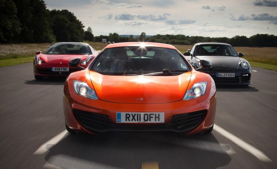 2011 Ferrari 458 Italia, 2012 McLaren MP4-12C, and 2011 Porsche 911 GT2 RS - Slide 1