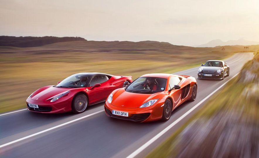 2011 Ferrari 458 Italia, 2012 McLaren MP4-12C, and 2011 Porsche 911 GT2 RS - Slide 6