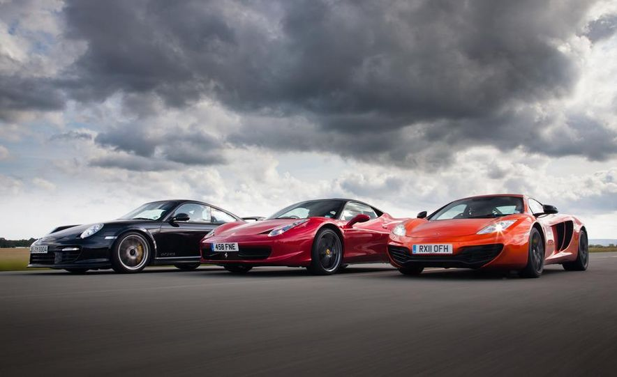 2011 Ferrari 458 Italia, 2012 McLaren MP4-12C, and 2011 Porsche 911 GT2 RS - Slide 7