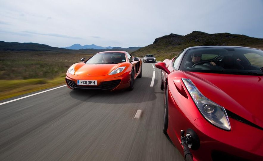 2011 Ferrari 458 Italia, 2012 McLaren MP4-12C, and 2011 Porsche 911 GT2 RS - Slide 3