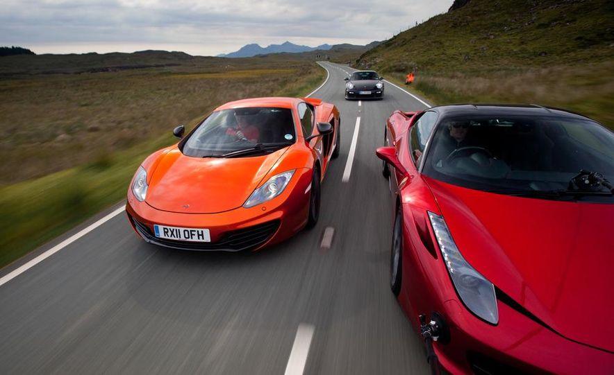 2011 Ferrari 458 Italia, 2012 McLaren MP4-12C, and 2011 Porsche 911 GT2 RS - Slide 4
