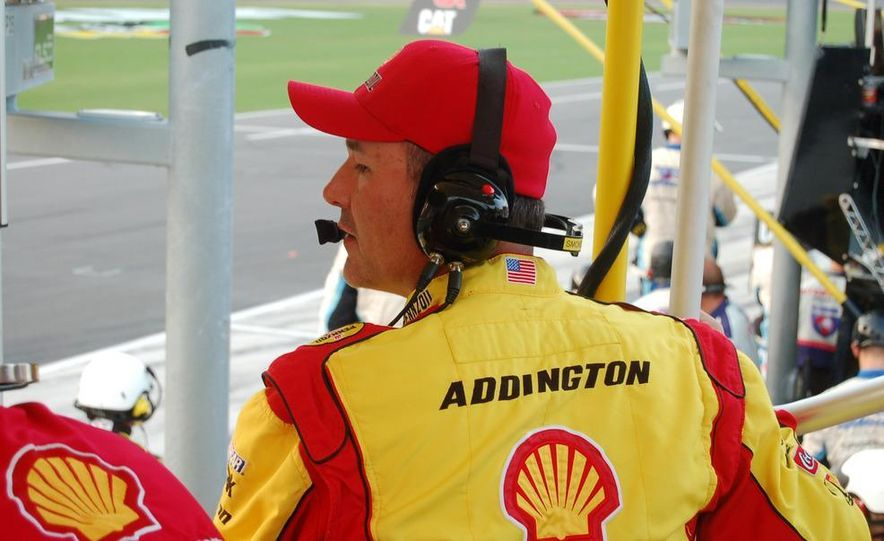 Crew chief Steve Addington in a light moment before the race. He won't be laughing at the end. - Slide 5