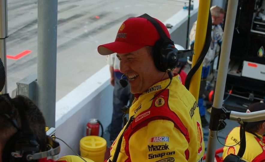 Crew chief Steve Addington in a light moment before the race. He won't be laughing at the end. - Slide 1