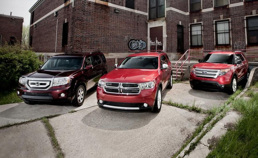 2011 Honda Pilot Touring 4WD, 2011 Dodge Durango Crew AWD, and 2011 Ford Explorer XLT 4WD - Slide 1