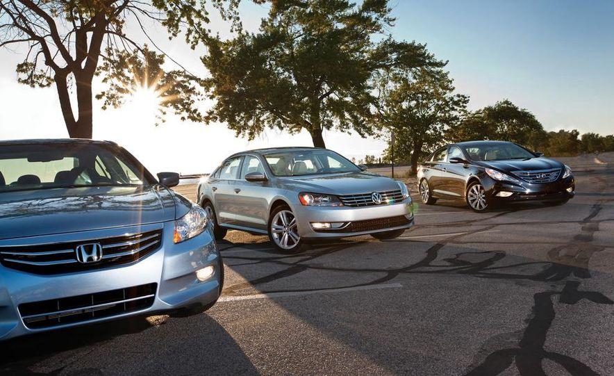 2011 Honda Accord EX-L V6, 2012 Volkswagen Passat 3.6 SEL, and 2012 Hyundai Sonata 2.0T Limited - Slide 1