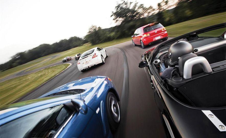 2011 Ford Mustang GT, 2012 Mini John Cooper Works, 2011 Nissan 370Z, 2011 Mitsubishi Lancer Evolution MR, 2012 Volkswagen GTI, and 2012 Mazda MX-5 Miata - Slide 1
