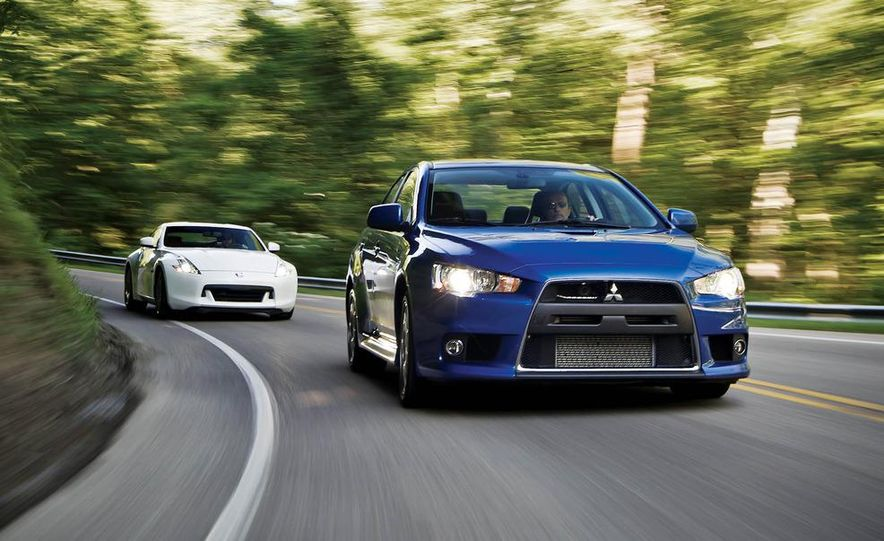 2011 Ford Mustang GT, 2012 Mini John Cooper Works, 2011 Nissan 370Z, 2011 Mitsubishi Lancer Evolution MR, 2012 Volkswagen GTI, and 2012 Mazda MX-5 Miata - Slide 3