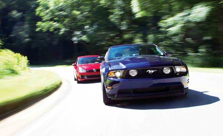 2011 Ford Mustang GT, 2012 Mini John Cooper Works, 2011 Nissan 370Z, 2011 Mitsubishi Lancer Evolution MR, 2012 Volkswagen GTI, and 2012 Mazda MX-5 Miata - Slide 2