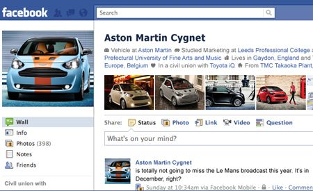 If the Aston Martin Cygnet Had a Facebook Profile . . .