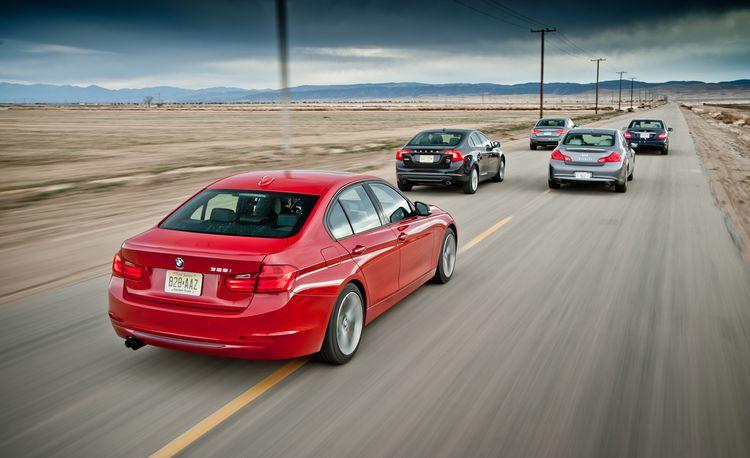 2012 BMW 328i vs. 2012 Audi A4 2.0T, 2012 Infiniti G25, 2012 Mercedes-Benz C250 Sport, 2012 Volvo S60 T6 AWD