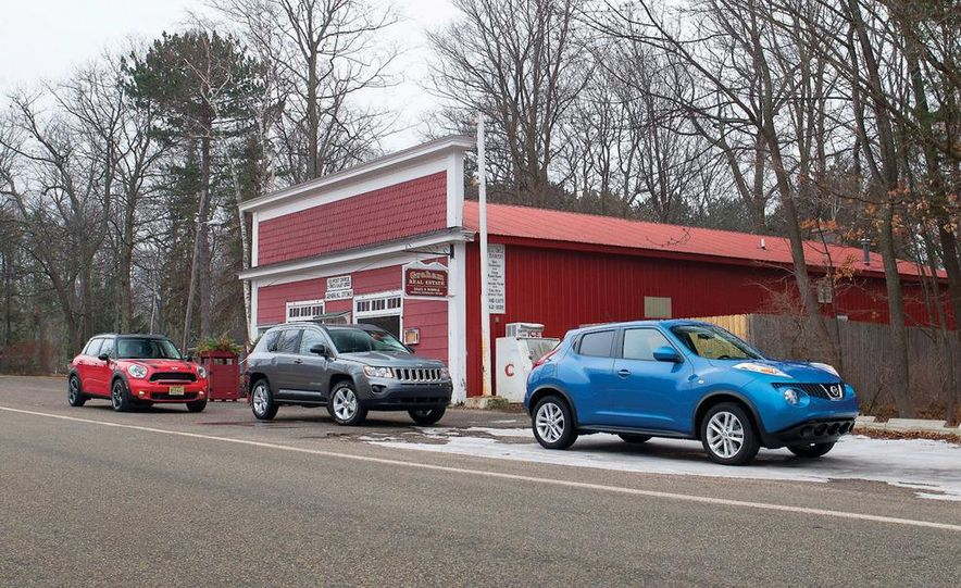 2012 Nissan Juke SV AWD, 2011 Mini Cooper S Countryman ALL4, and 2012 Jeep Compass Latitude 4x4 - Slide 4