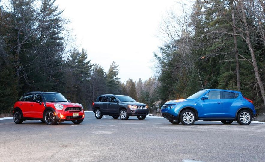 2012 Nissan Juke SV AWD, 2011 Mini Cooper S Countryman ALL4, and 2012 Jeep Compass Latitude 4x4 - Slide 8