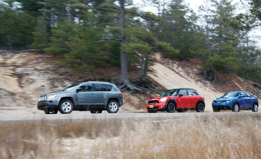 2012 Nissan Juke SV AWD, 2011 Mini Cooper S Countryman ALL4, and 2012 Jeep Compass Latitude 4x4 - Slide 3
