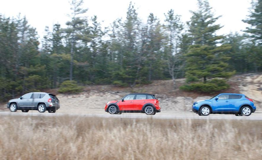 2012 Nissan Juke SV AWD, 2011 Mini Cooper S Countryman ALL4, and 2012 Jeep Compass Latitude 4x4 - Slide 7