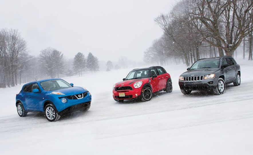 2012 Nissan Juke SV AWD, 2011 Mini Cooper S Countryman ALL4, and 2012 Jeep Compass Latitude 4x4 - Slide 1