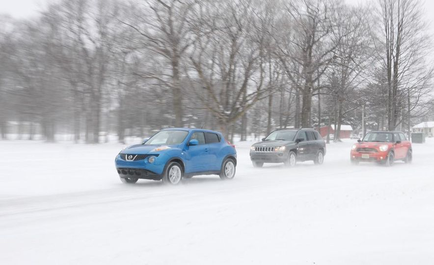 2012 Nissan Juke SV AWD, 2011 Mini Cooper S Countryman ALL4, and 2012 Jeep Compass Latitude 4x4 - Slide 5