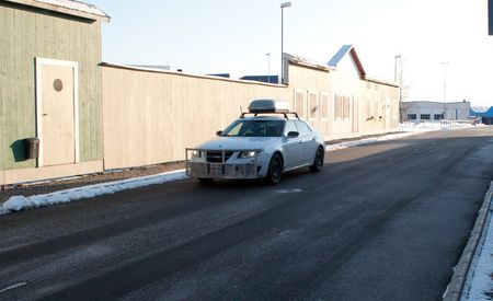 Driving in a Fake Swedish Town