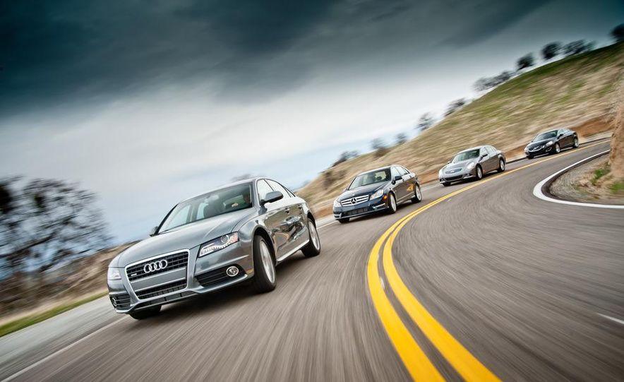 2012 Mercedes-Benz C250 Sport, 2012 Volvo S60 T6 AWD, 2012 Audi A4 2.0T Quattro, 2012 Infiniti G25, and 2012 BMW 328i - Slide 2
