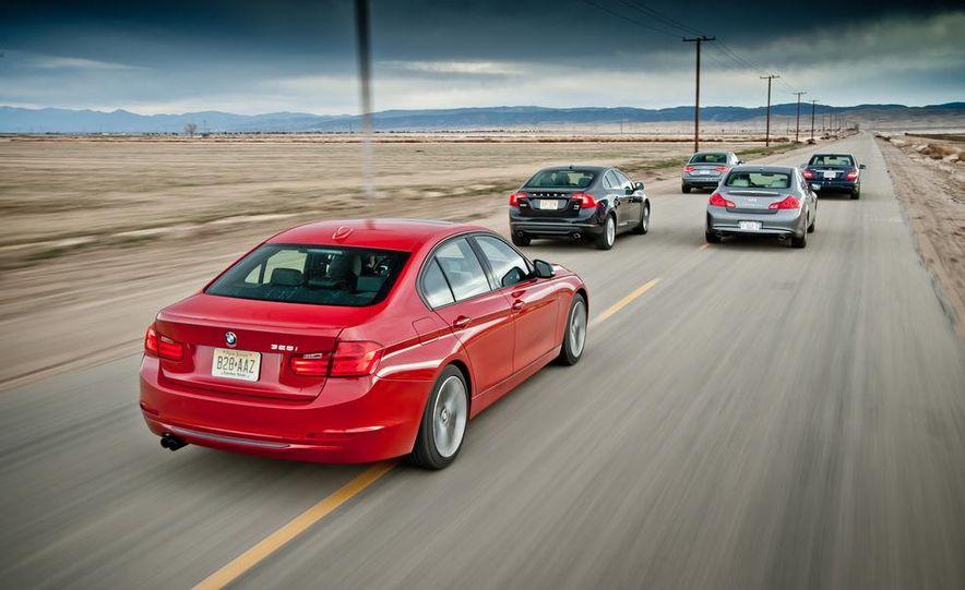 2012 Mercedes-Benz C250 Sport, 2012 Volvo S60 T6 AWD, 2012 Audi A4 2.0T Quattro, 2012 Infiniti G25, and 2012 BMW 328i - Slide 3