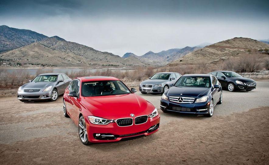2012 Mercedes-Benz C250 Sport, 2012 Volvo S60 T6 AWD, 2012 Audi A4 2.0T Quattro, 2012 Infiniti G25, and 2012 BMW 328i - Slide 4