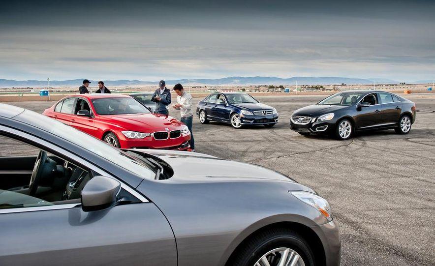 2012 Mercedes-Benz C250 Sport, 2012 Volvo S60 T6 AWD, 2012 Audi A4 2.0T Quattro, 2012 Infiniti G25, and 2012 BMW 328i - Slide 5