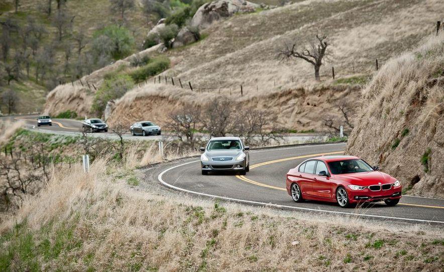 2012 Mercedes-Benz C250 Sport, 2012 Volvo S60 T6 AWD, 2012 Audi A4 2.0T Quattro, 2012 Infiniti G25, and 2012 BMW 328i - Slide 1