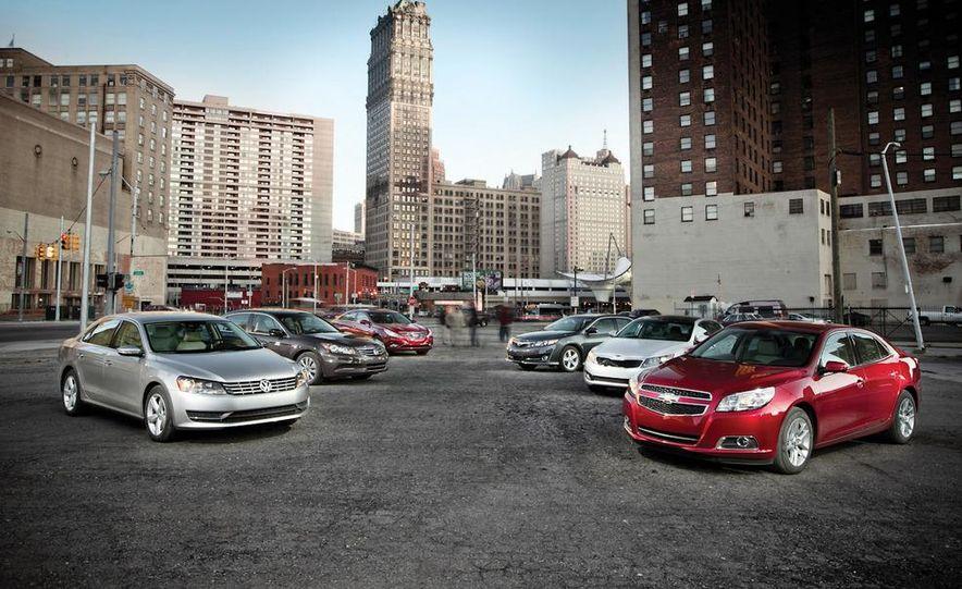 2012 Volkswagen Passat 2.5 SE, 2012 Honda Accord EX-L, 2012 Hyundai Sonata SE, 2012 Toyota SE, 2012 Kia Optima EX, and 2013 Chevrolet Malibu Eco - Slide 1