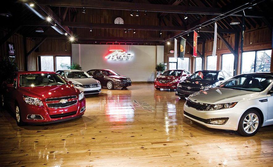 2012 Volkswagen Passat 2.5 SE, 2012 Honda Accord EX-L, 2012 Hyundai Sonata SE, 2012 Toyota SE, 2012 Kia Optima EX, and 2013 Chevrolet Malibu Eco - Slide 2