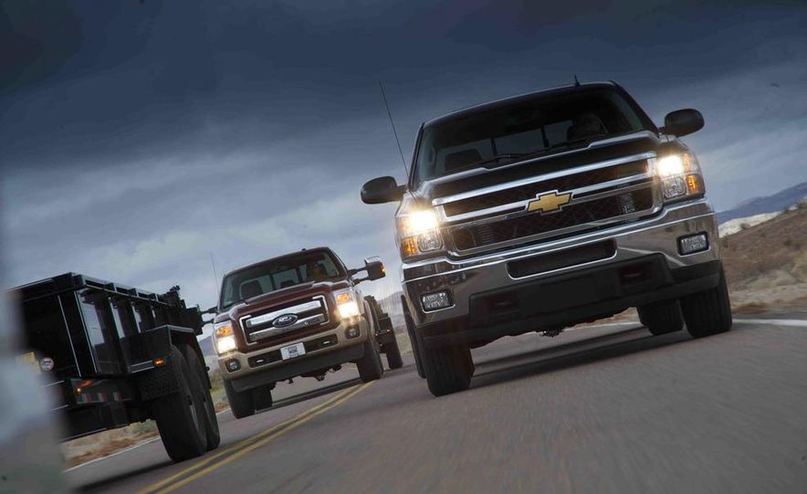 2012 Ford F-250 Super Duty King Ranch 4x4 crew cab and 2012 Chevrolet Silverado 2500 LTZ 4WD crew cab - Slide 1