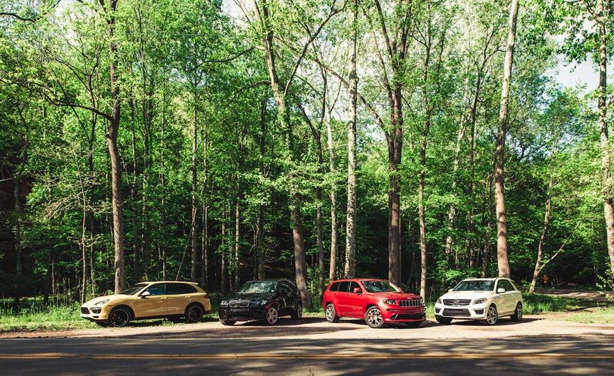 2012 Porsche Cayenne Turbo, BMW X5 M, Jeep Grand Cherokee SRT8, and Mercedes-Benz ML63 AMG - Slide 1