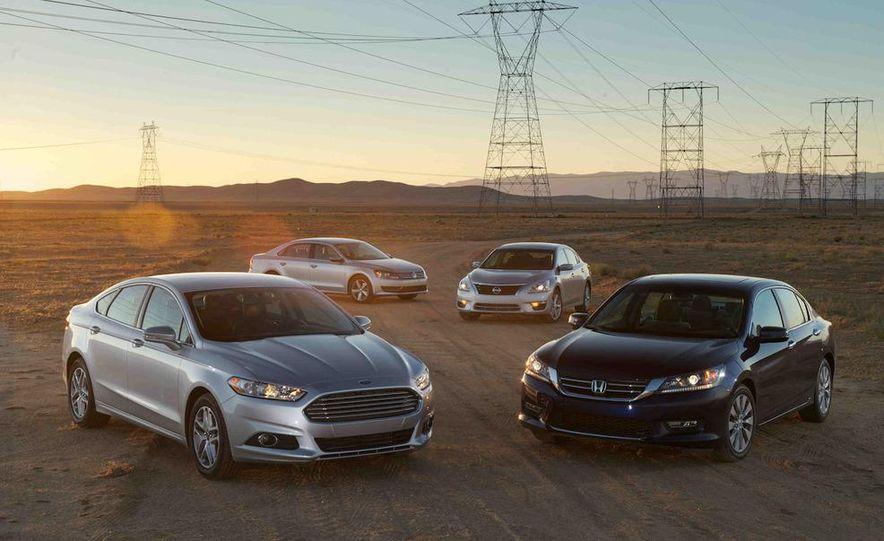 2013 Nissan Altima 2.5 SV sedan, 2012 Volkswagen Passat 2.5 SE, 2013 Honda Accord EX sedan, and 2013 Ford Fusion SE EcoBoost - Slide 3