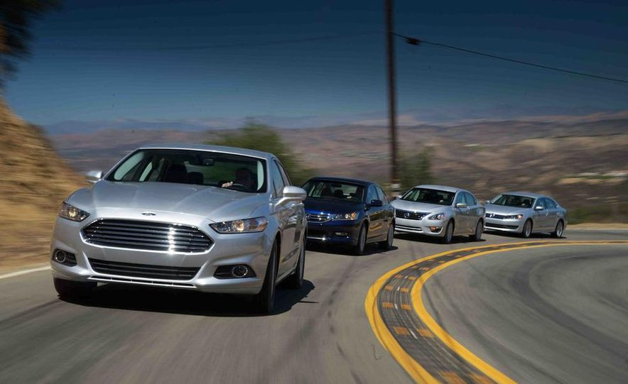 2013 Nissan Altima 2.5 SV sedan, 2012 Volkswagen Passat 2.5 SE, 2013 Honda Accord EX sedan, and 2013 Ford Fusion SE EcoBoost - Slide 5