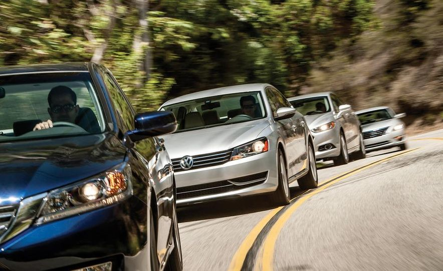 2013 Nissan Altima 2.5 SV sedan, 2012 Volkswagen Passat 2.5 SE, 2013 Honda Accord EX sedan, and 2013 Ford Fusion SE EcoBoost - Slide 8