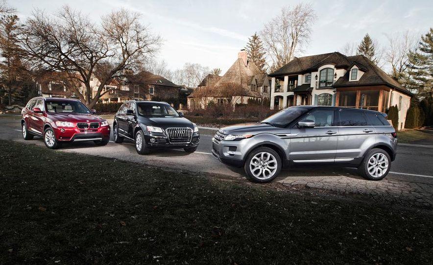 2013 BMW X3 xDrive28i, 2013 Audi Q5 2.0T, and 2013 Land Rover Range Rover Evoque - Slide 1