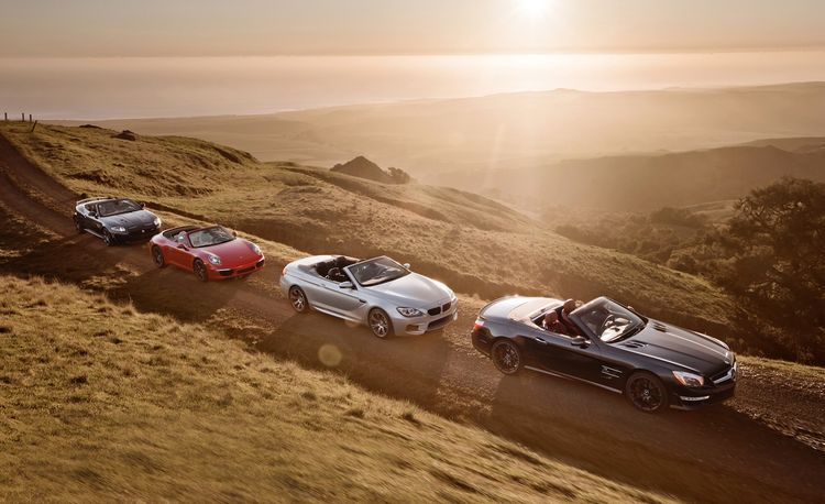 2013 BMW M6 Convertible vs. 2013 Jaguar XKR-S Convertible, 2013 Mercedes-Benz SL63 AMG, and 2013 Porsche 911 Carrera S Cabriolet