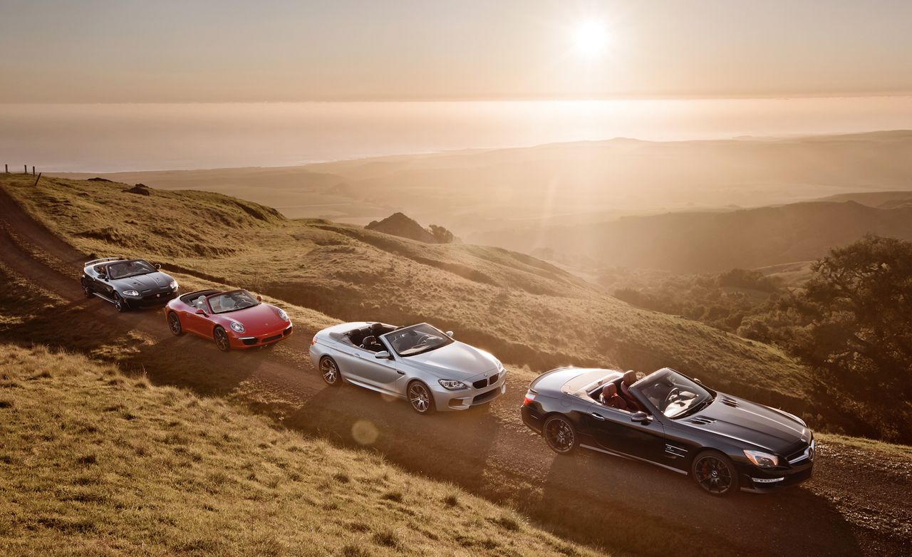 jaguar xkr s convertible mercedes benz sl63 amg porsche 911 carrera s cabriolet comparison test car and driver