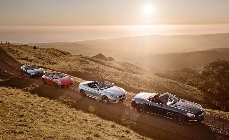2013 Jaguar XKR-S convertible, Porsche 911 Carrera S cabriolet, BMW M6 convertible, and Mercedes-Benz SL63 AMG - Slide 1