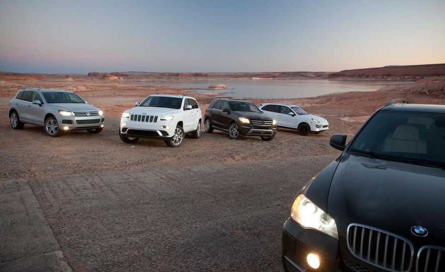 2014 Jeep Grand Cherokee Summit EcoDiesel, 2013 BMW X5 xDrive35d, 2013 Mercedes-Benz ML350 BlueTec 4MATIC, 2013 Porsche Cayenne diesel, and 2013 Volkswagen Touareg TDI - Slide 12