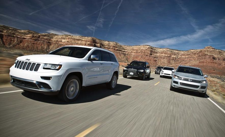 2014 Jeep Grand Cherokee Summit EcoDiesel, 2013 BMW X5 xDrive35d, 2013 Mercedes-Benz ML350 BlueTec 4MATIC, 2013 Porsche Cayenne diesel, and 2013 Volkswagen Touareg TDI - Slide 1